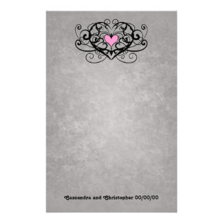 Gothic romance swirls and hearts wedding customized stationery