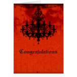 Gothic Romance Victorian Chandelier Wedding Greeting Card