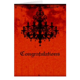 Gothic Romance Victorian Chandelier Wedding Card