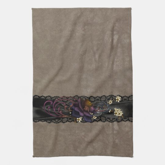 Gothic Rose and Black Lace Tea Towel