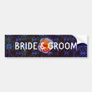 Gothic Rose Damask Wedding Bumper Stickers