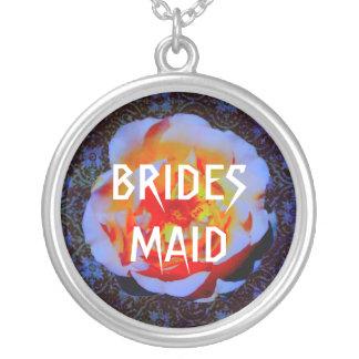 Gothic Rose Damask Wedding Round Pendant Necklace