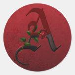 Gothic Rose Monogram A Round Sticker