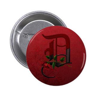 Gothic Rose Monogram D 6 Cm Round Badge