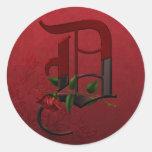 Gothic Rose Monogram D Round Sticker