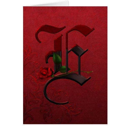 Gothic Rose Monogram E Card