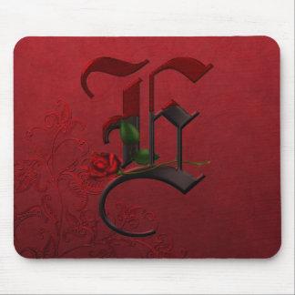 Gothic Rose Monogram E Mouse Pads