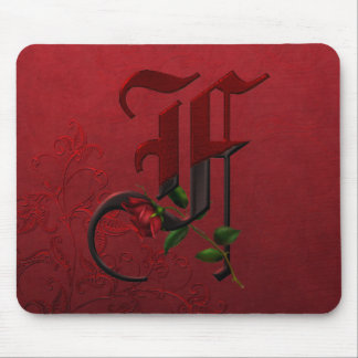 Gothic Rose Monogram F Mousepads