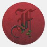 Gothic Rose Monogram F Round Stickers