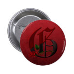 Gothic Rose Monogram G Buttons