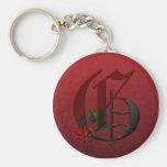 Gothic Rose Monogram G Key Chain