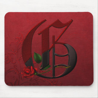 Gothic Rose Monogram G Mouse Pad