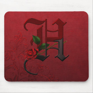 Gothic Rose Monogram H Mousepads