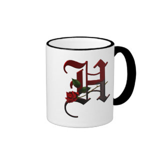 Gothic Rose Monogram H Ringer Mug