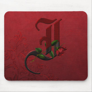 Gothic Rose Monogram I Mouse Pads