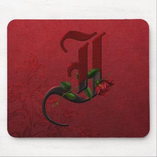 Gothic Rose Monogram I Mouse Pads