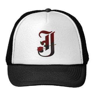 Gothic Rose Monogram J Trucker Hat
