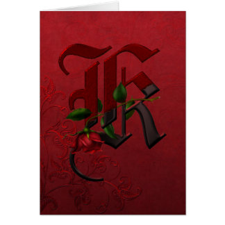 Gothic Rose Monogram K Card