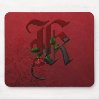 Gothic Rose Monogram K Mouse Pad