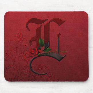 Gothic Rose Monogram K Mousepad