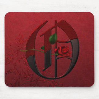 Gothic Rose Monogram O Mouse Pads