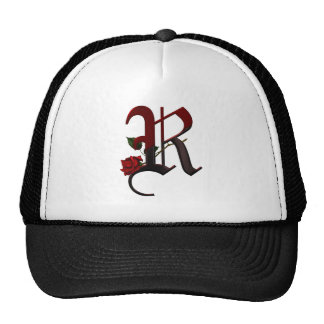 Gothic Rose Monogram R Trucker Hat
