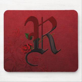 Gothic Rose Monogram R Mousepad