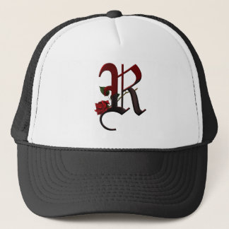 Gothic Rose Monogram R Trucker Hat