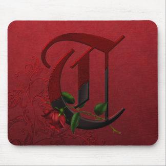 Gothic Rose Monogram T Mousepads