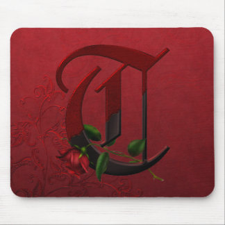 Gothic Rose Monogram T Mousepads