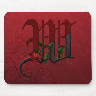 Gothic Rose Monogram W Mouse Pad