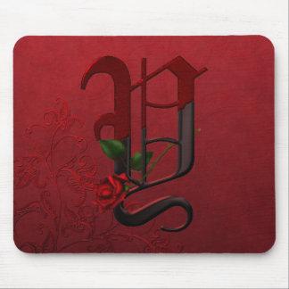 Gothic Rose Monogram Y Mouse Pad