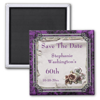 Gothic Roses & Black Damask 60th Save The Date Magnet
