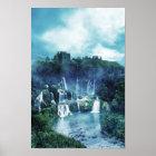 Gothic Ruin Waterfall Poster