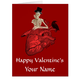 Gothic skeleton and heart valentines day big greeting card