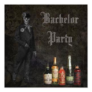 Gothic Skeleton Groom & Poison Bachelor Party 13 Cm X 13 Cm Square Invitation Card