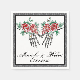 Gothic Skeleton Hands and Roses Wedding Napkins Disposable Serviettes