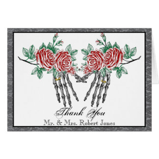 Gothic Skeleton Hands and Roses Wedding Thank You Note Card