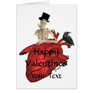Gothic skeleton & heart valentines day greeting card