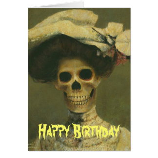 Gothic Skeleton Lady Birthday Card