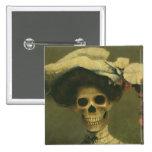 Gothic Skeleton Lady Button
