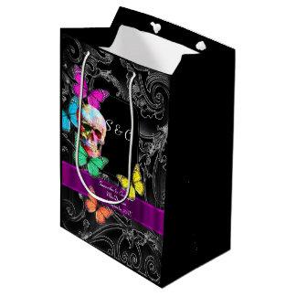 Gothic skull and black personalized wedding medium gift bag