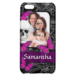 Gothic skull and butterflies cover for iPhone 5C