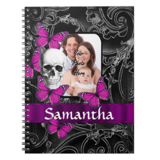Gothic skull and butterflies notebook