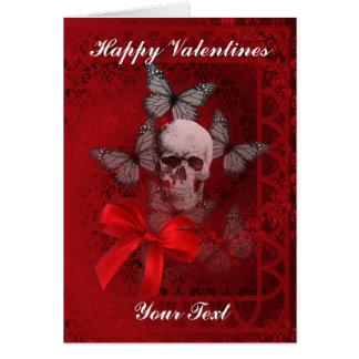 Gothic skull and butterflies valentines day greeting card