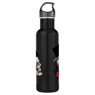 Gothic skull and rose tattoo style 710 ml water bottle