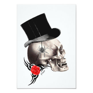 Gothic skull and rose tattoo style 9 cm x 13 cm invitation card
