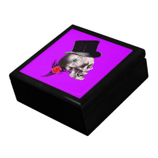 Gothic skull and rose tattoo style gift box