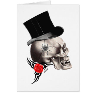 Gothic skull and rose tattoo style greeting card