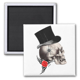 Gothic skull and rose tattoo style magnets